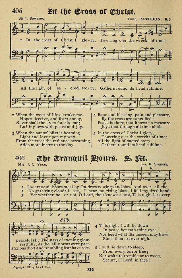 Living Hymns: for use in the Sabbath School, Christian Endeavor Meetings, the church & home page 314