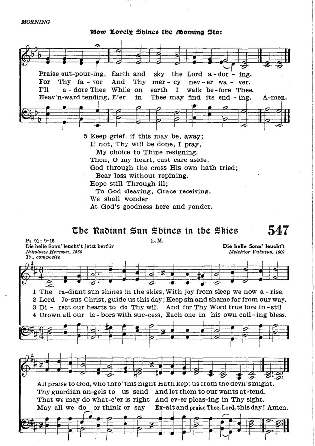 The Lutheran Hymnal 546  How lovely shines the morning star