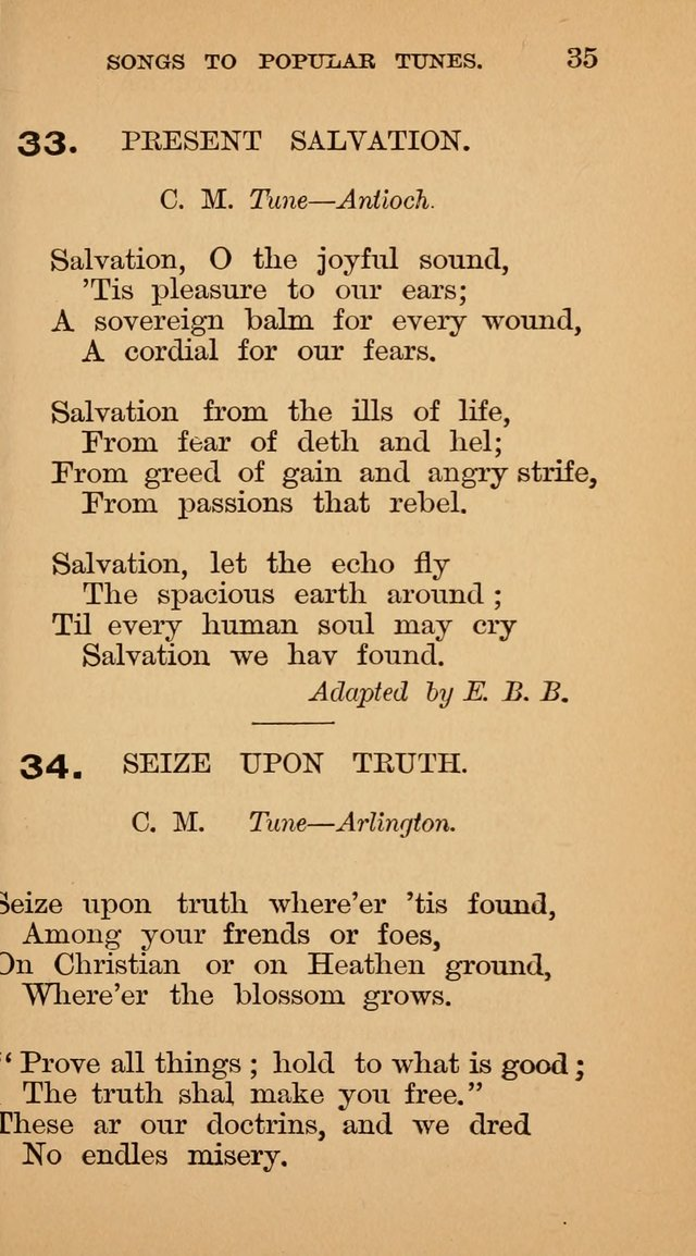 The Liberal Hymn Book: a collection of liberal songs adapted to popular tunes. For use in liberal leagues and other meetings, and in liberal homes page 35