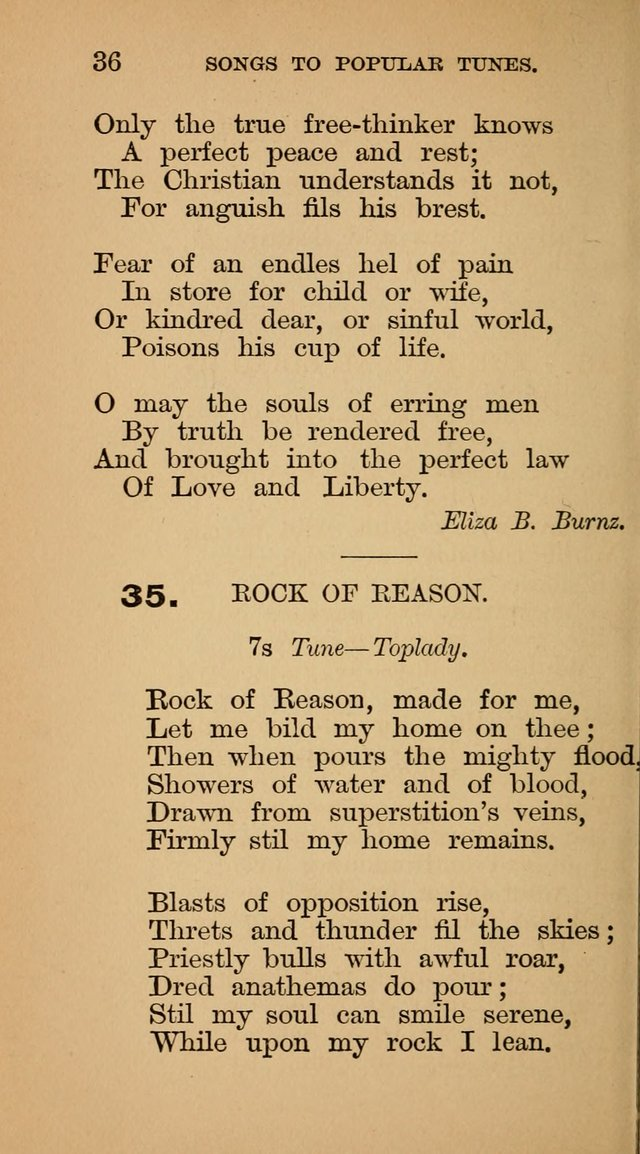 The Liberal Hymn Book: a collection of liberal songs adapted to popular tunes. For use in liberal leagues and other meetings, and in liberal homes page 36