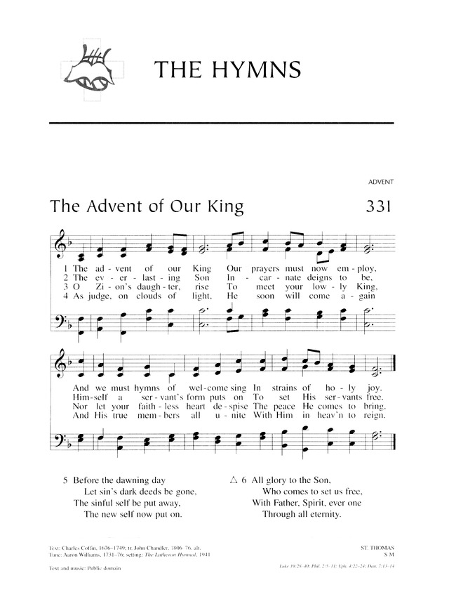 lutheran service book 331 the advent of our king. Black Bedroom Furniture Sets. Home Design Ideas