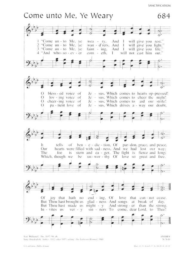 Lutheran service book 684 come unto me ye weary hymnary 684 come unto me ye weary stopboris Image collections