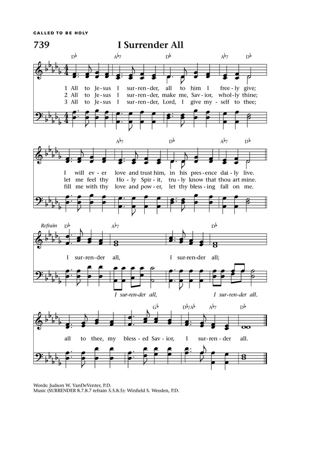All Music Chords part of your world sheet music free : I Surrender All | Hymnary.org