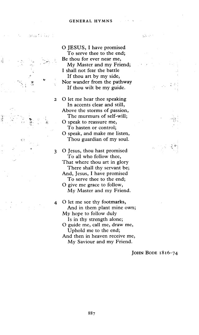The New English Hymnal 420 O Jesus I Have Promised Hymnary Org