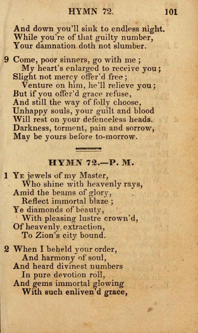 The New and Improved Camp Meeting Hymn Book; being a choice selection of hymns from the most approved authors designed to aid in the public and private devotion of Christians (4th ed. Stereotype) page 103