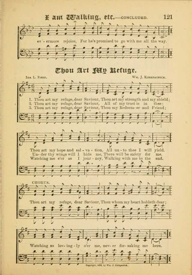 Our Praise in Song: a collection of hymns and sacred melodies, adapted for use by Sunday schools, Endeavor societies, Epworth Leagues, evangelists, pastors, choristers, etc. page 121