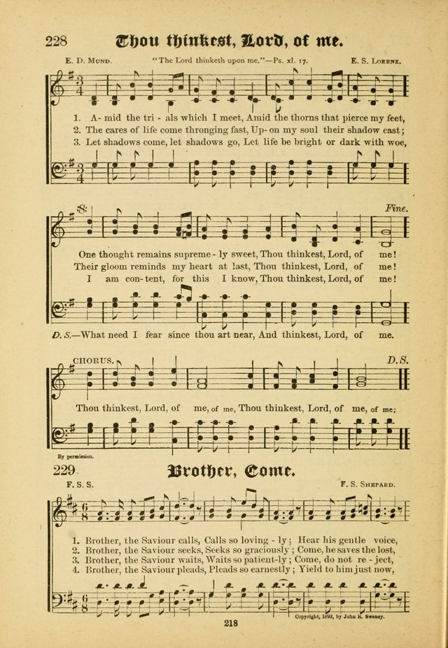 Our Praise in Song: a collection of hymns and sacred melodies, adapted for use by Sunday schools, Endeavor societies, Epworth Leagues, evangelists, pastors, choristers, etc. page 218