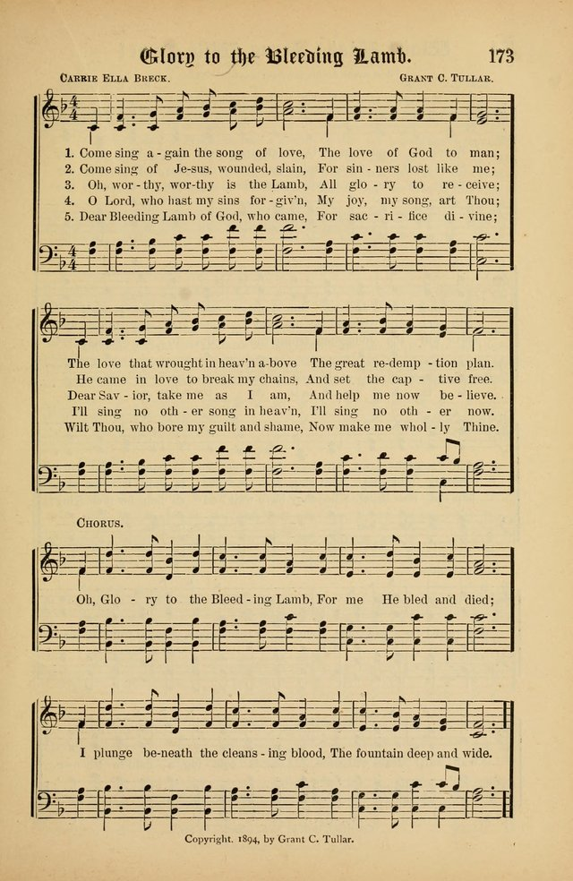 The Peacemaker: a collection of sacred songs and hymns for use in all services of the church, Sunday-school, home circle, and all kinds of evangelistic work page 173