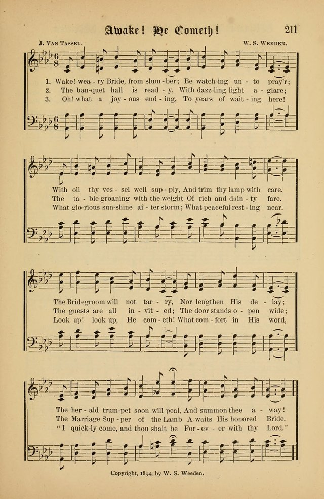The Peacemaker: a collection of sacred songs and hymns for use in all services of the church, Sunday-school, home circle, and all kinds of evangelistic work page 211