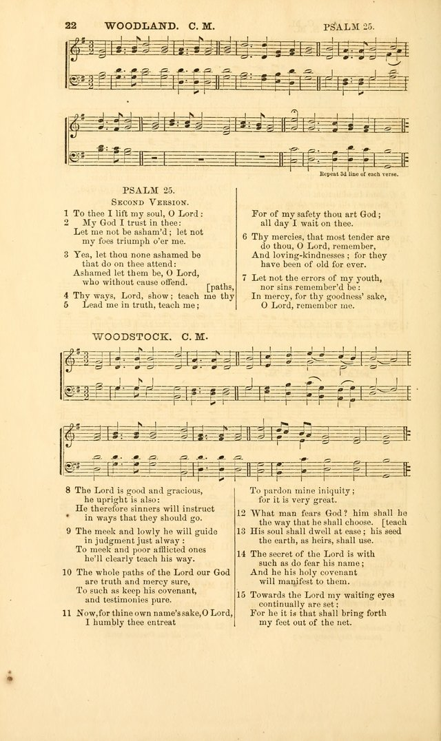 The Psalms of David, with a selection of standard music appropriately arranged according to sentiment of each Psalm or portion of Psalm (8th ed.) page 22