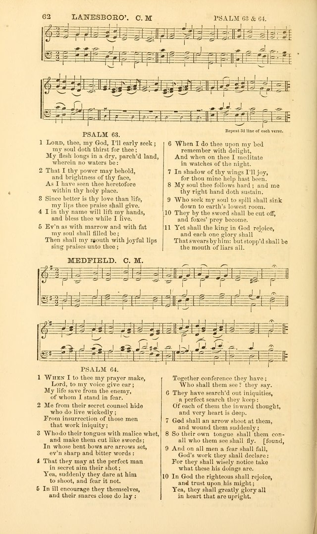 The Psalms of David, with a selection of standard music appropriately arranged according to sentiment of each Psalm or portion of Psalm (8th ed.) page 62