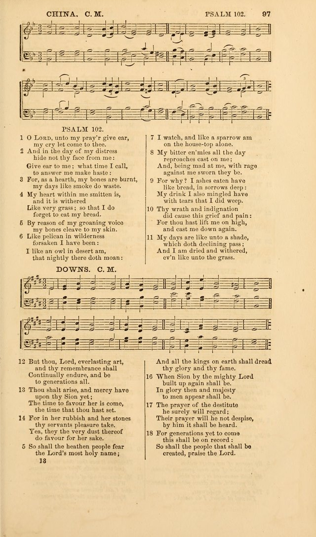 The Psalms of David, with a selection of standard music appropriately arranged according to sentiment of each Psalm or portion of Psalm (8th ed.) page 97