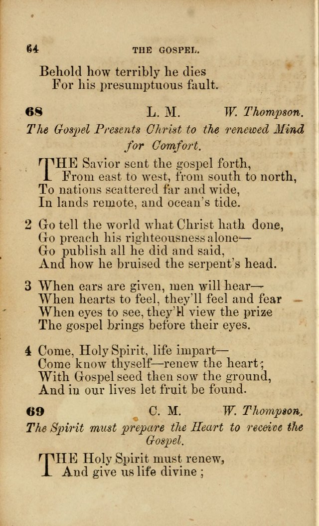 Pocket Hymns: original and selected. designed for the use of the regular Baptist church, and all who love our Lord Jesus Christ page 64