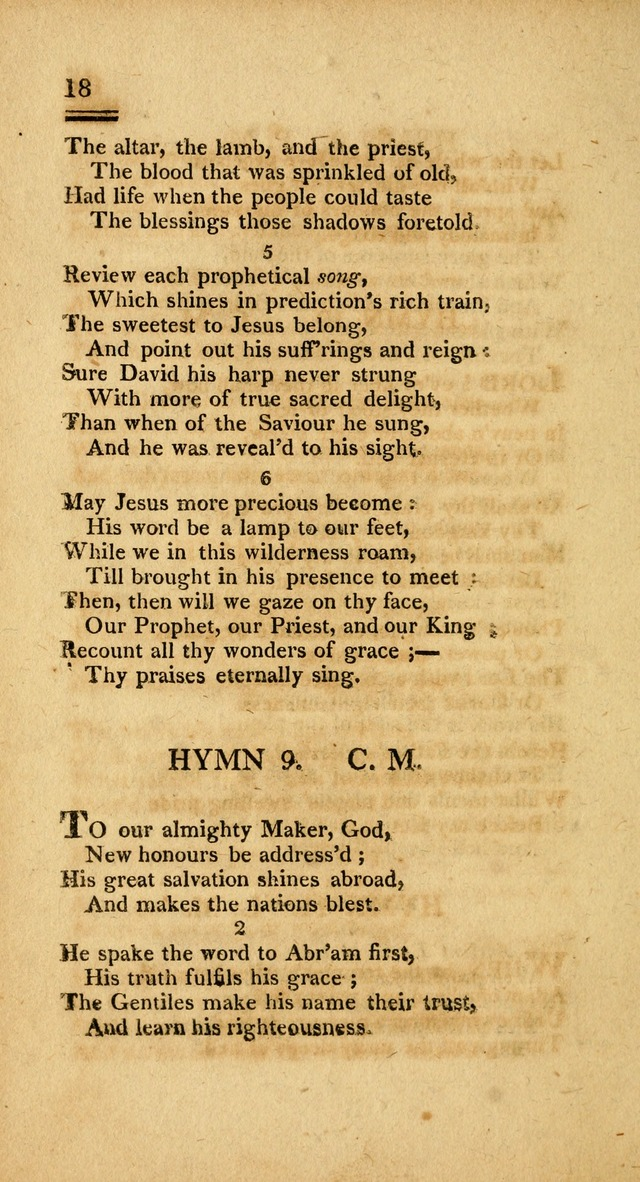 Psalms, Hymns and Spiritual Songs: selected and designed for the use of  the church universal, in public and private devotion; with an appendix, containing the original hymns omitted in the last ed. page 18