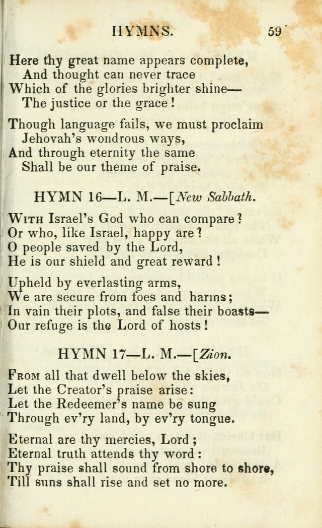Psalms, Hymns and Spiritual Songs, Original and Selected. (14th stereotype ed.) page 59