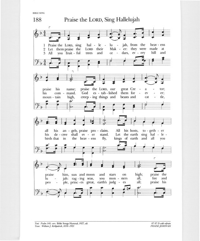 Psalter Hymnal Gray 188 Praise The Lord Sing Hallalujah