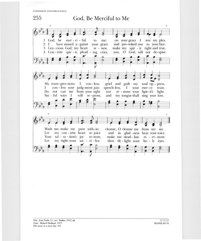 Psalter Hymnal Gray 255 God Be Merciful To Me Hymnary