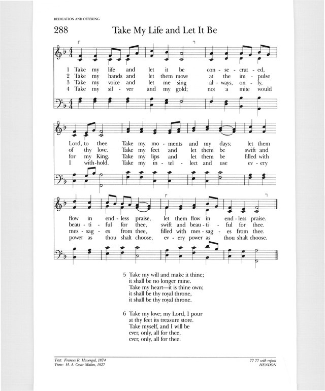 Psalter Hymnal Gray 288 Take My Life And Let It Be Hymnary