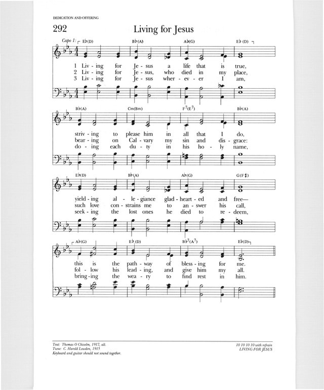 Psalter Hymnal (Gray) 292. Living for Jesus a life that is true ...