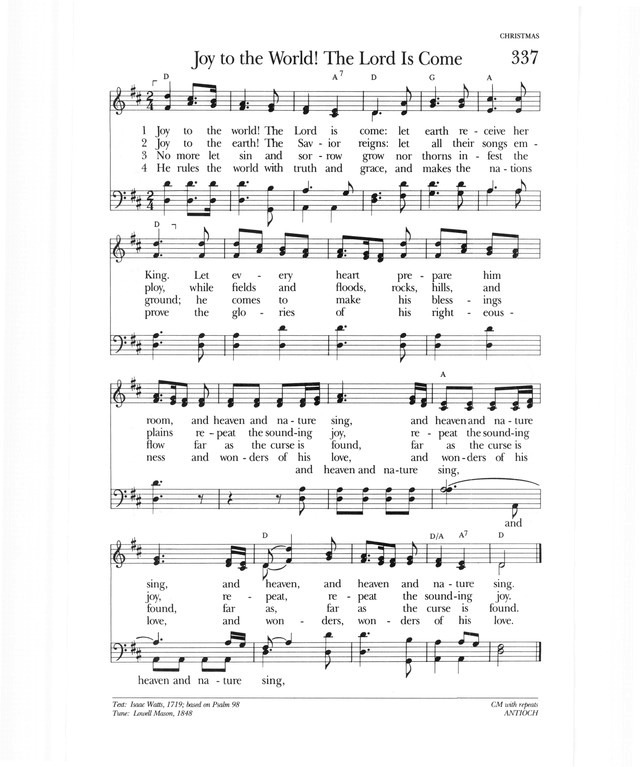 Psalter Hymnal (Gray) 337. Joy to the world! The Lord is come ...