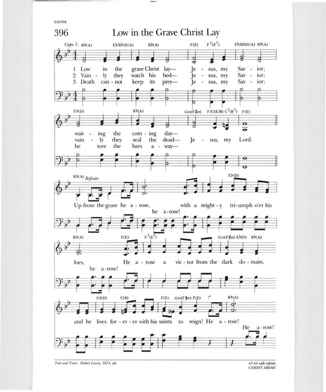 Psalter Hymnal Gray 396 Low In The Grave Christ Lay Hymnary