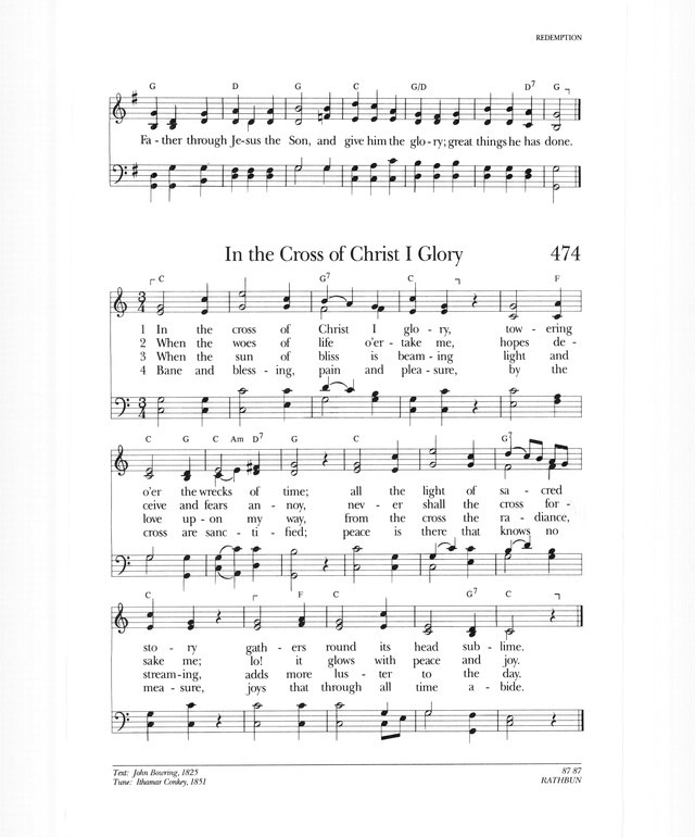 Psalter Hymnal Gray 474 In The Cross Of Christ I Glory Hymnary