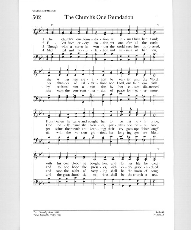Psalter Hymnal (Gray) 502. The church's one foundation - Hymnary.org