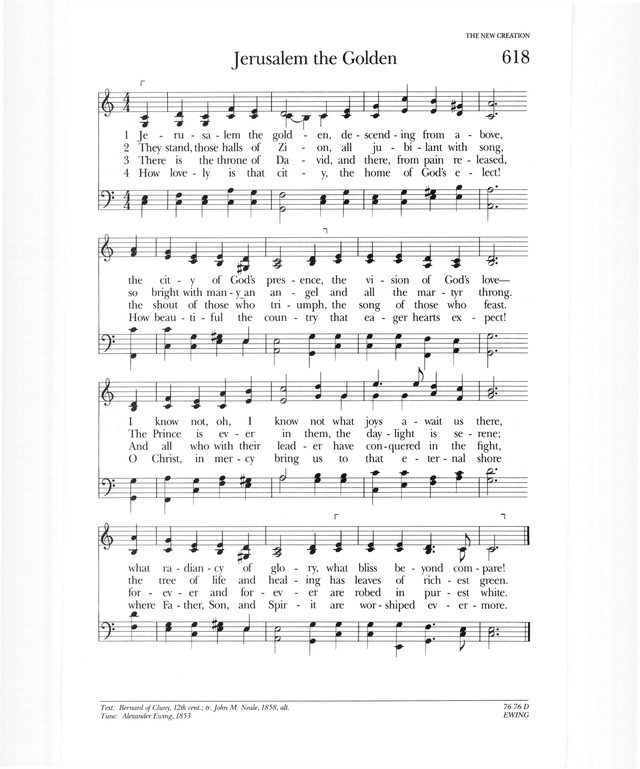 Psalter Hymnal (Gray) 618  Jerusalem the golden | Hymnary org