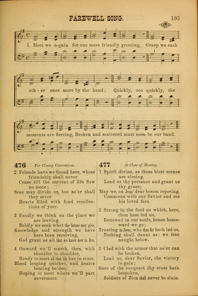 Songs of Devotion for Christian Assocations: a collection of psalms, hymns, spiritual songs, with music for chuch services, prayer and conference meetings, religious conventions, and family worship. page 195