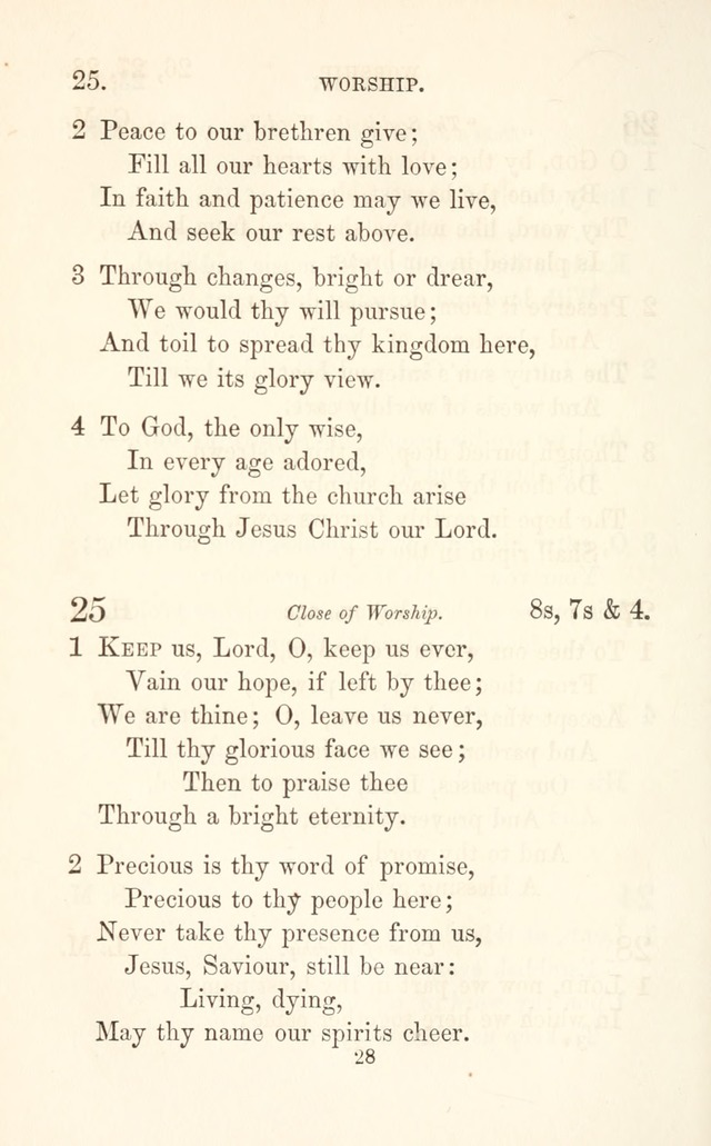 "A Selection of Hymns: designed as a supplement to the ""psalms and hymns"" of the Presbyterian church page 28"