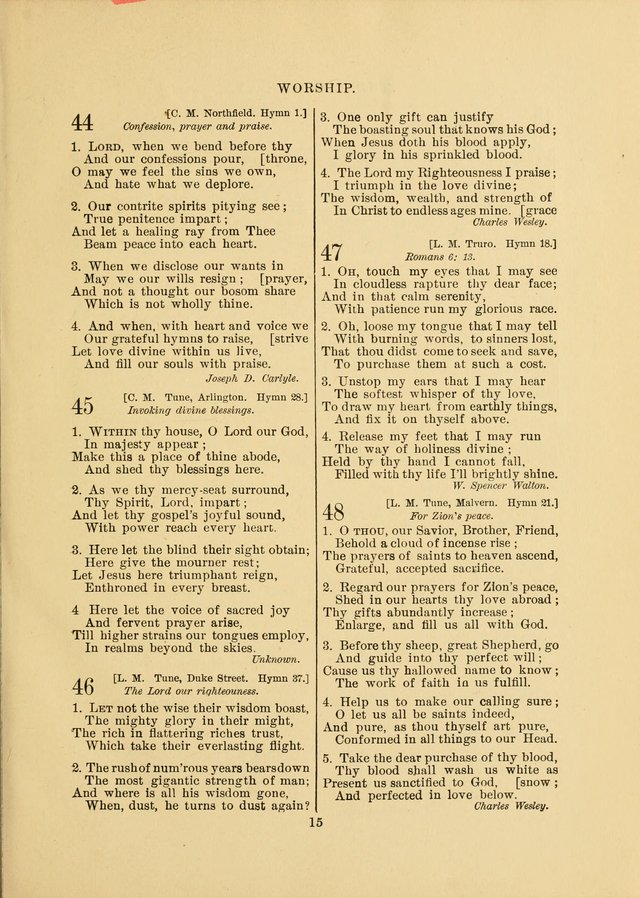 Sacred Hymns and Tunes: designed to be used by the Wesleyan Methodist Connection (or Church) of America page 15