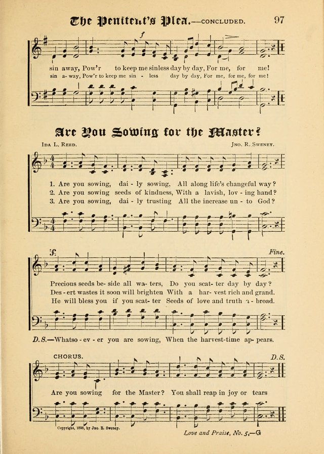 Songs of Love and Praise No. 5: for use in meetings for Christian worship or work page 87