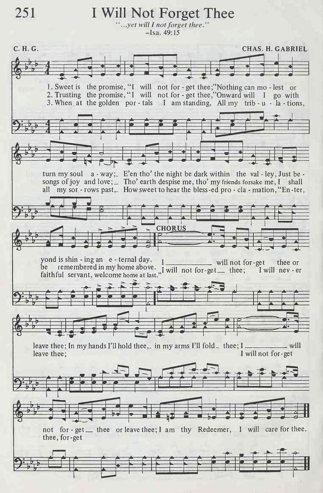 Sweet Is The Promise I Will Not Forget Thee Hymnary