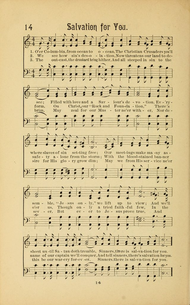 Songs and Solos used by the Christian Crusaders in their Special Soul-Saving Work: and adapted for the church, grove, school, choir, and home page 13