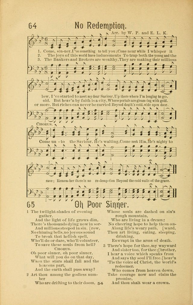 Songs and Solos used by the Christian Crusaders in their Special Soul-Saving Work: and adapted for the church, grove, school, choir, and home page 53