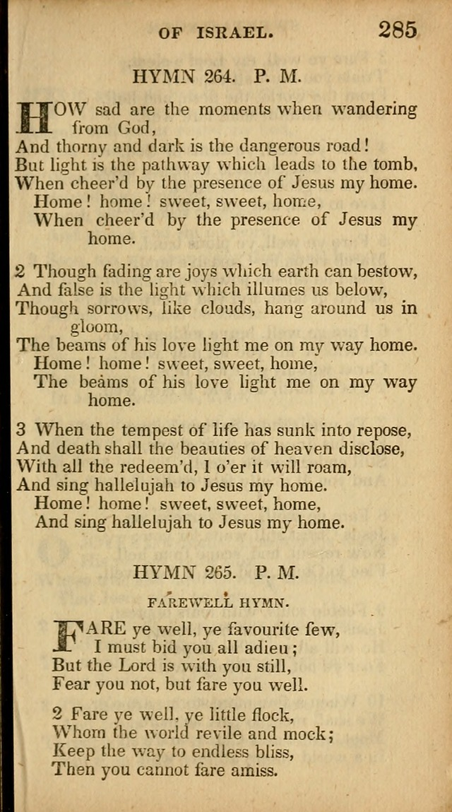 The Sweet Singer of Israel: a collection of hymns and spiritual  songs, usually sung at camp, prayer, and social meetings, and revivals of religion (New ed. much enlarged) page 285