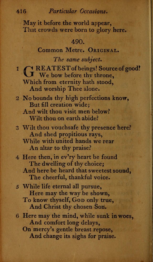 A Selection of Sacred Poetry: consisting of psalms and hymns, from Watts, Doddridge, Merrick, Scott, Cowper, Barbauld, Steele ...compiled for  the use of the Unitarian Church in Philadelphia page 416