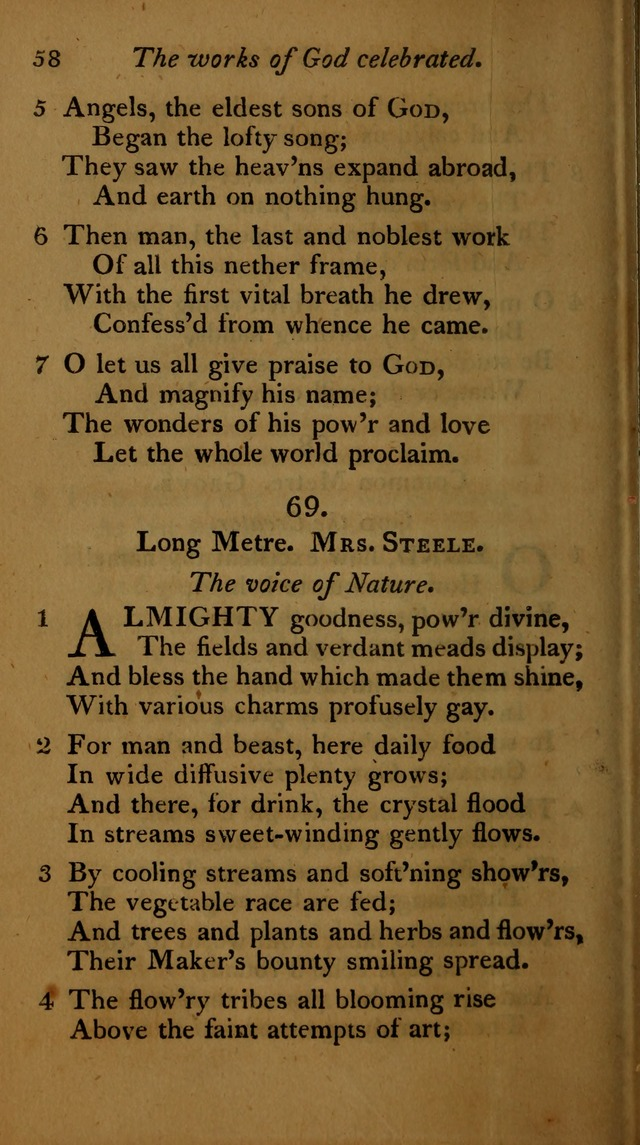 A Selection of Sacred Poetry: consisting of psalms and hymns, from Watts, Doddridge, Merrick, Scott, Cowper, Barbauld, Steele ...compiled for  the use of the Unitarian Church in Philadelphia page 58