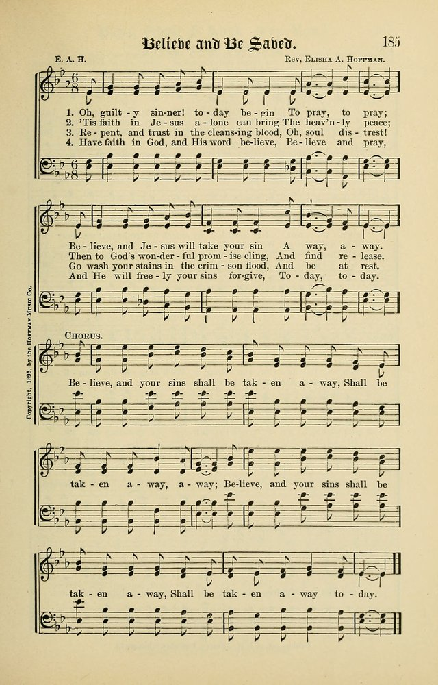 Songs of the Peacemaker: a collection of sacred songs and hymns for use in all services of the church, Sunday-school, home circle, and all kinds of evangelistic work page 185