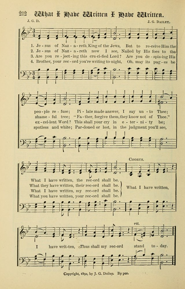 Songs of the Peacemaker: a collection of sacred songs and hymns for use in all services of the church, Sunday-school, home circle, and all kinds of evangelistic work page 212