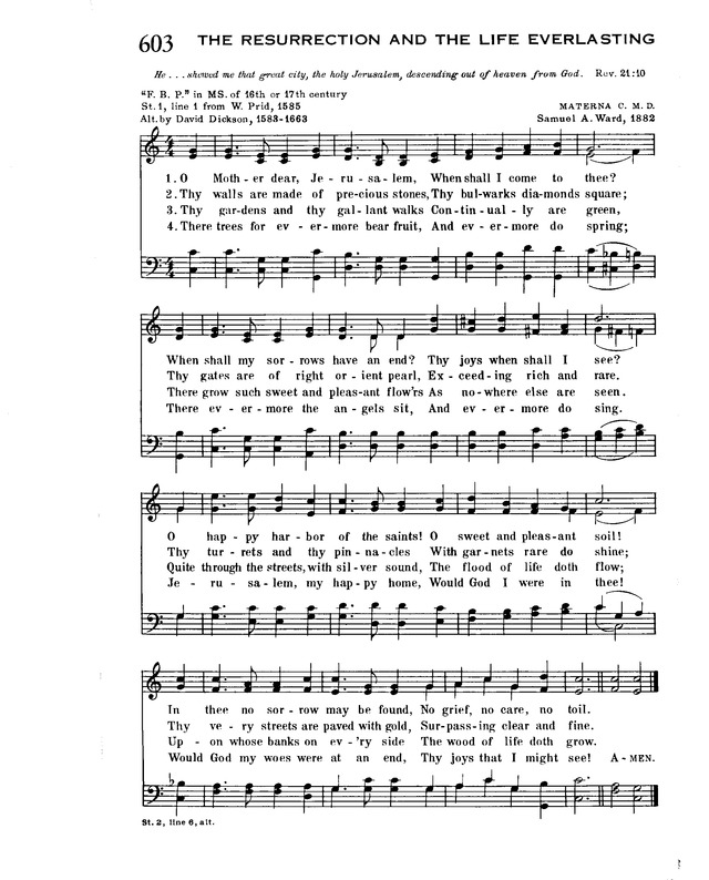 Trinity Hymnal 603  O Mother dear, Jerusalem | Hymnary org