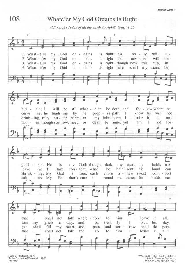 Lyric my god and i lyrics : Trinity Hymnal (Rev. ed.) 108. Whate'er my God ordains is right ...