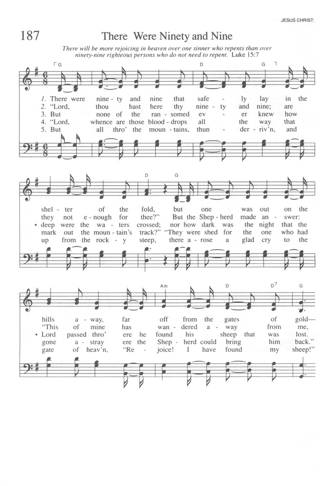 There Were Ninety And Nine Hymnary