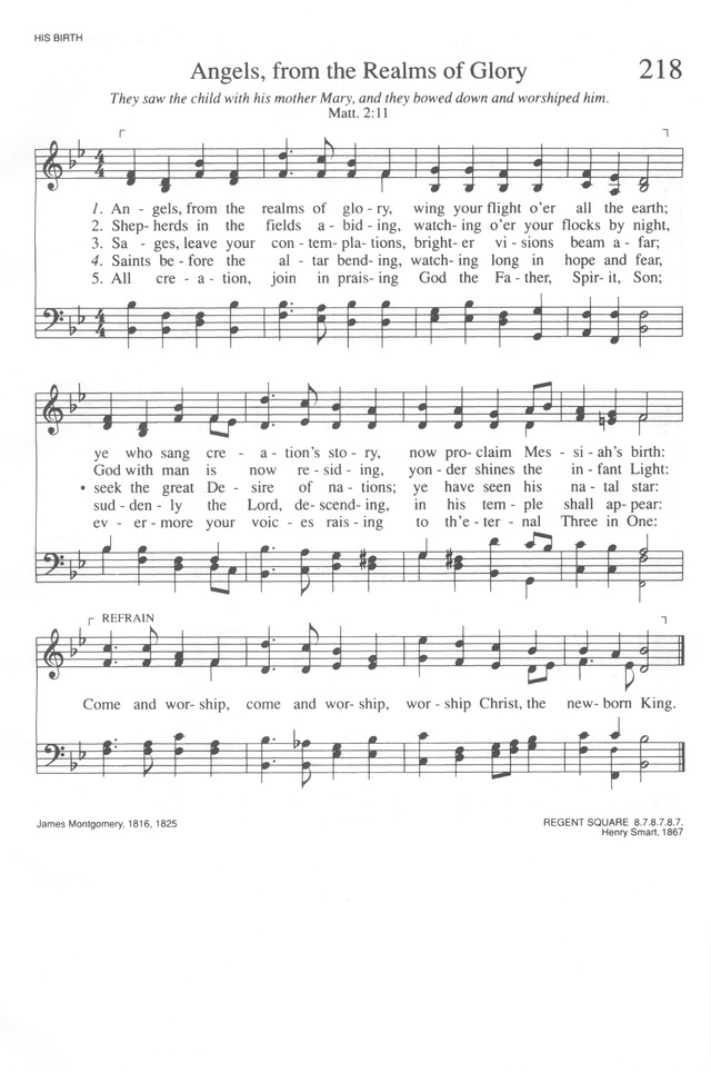 Trinity Hymnal Rev Ed 218 Angels From The Realms Of Glory