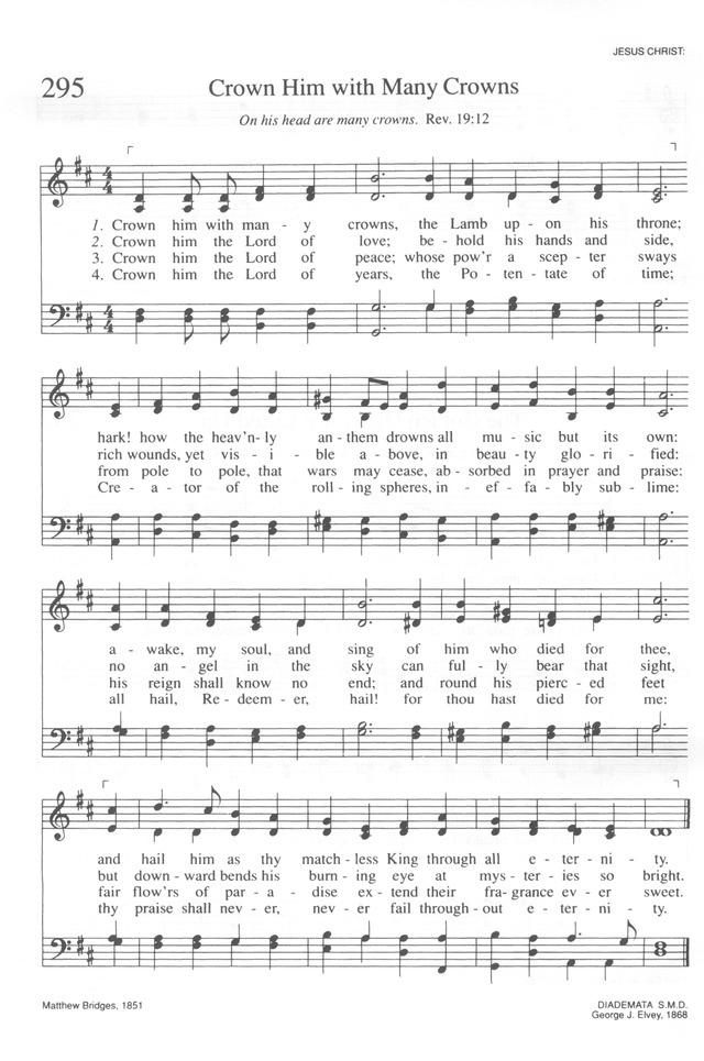 Trinity Hymnal (Rev. ed.) 295. Crown him with many crowns | Hymnary.org