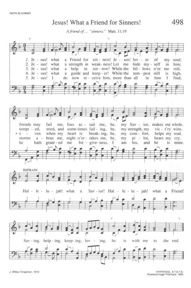 Trinity Hymnal Rev Ed 498 Jesus What A Friend For Sinners