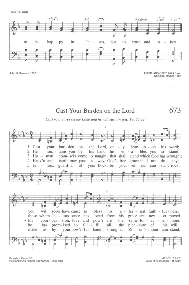 Lyric i will call upon the lord lyrics : Trinity Hymnal (Rev. ed.) 673. Cast your burden on the Lord ...