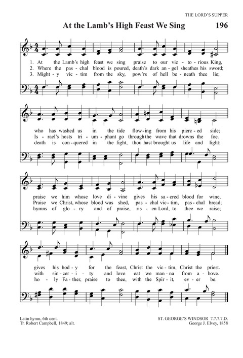 At the Lamb's High Feast We Sing | Hymnary org