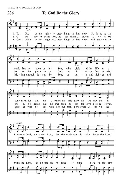 To God Be the Glory   Hymnary org