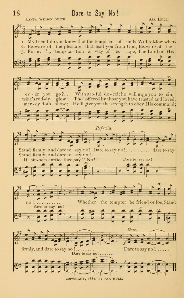 Temperance Rallying Songs: consisting of a large variety of solos, quartettes, and choruses, suited to every phase of the great temperance reformation page 18